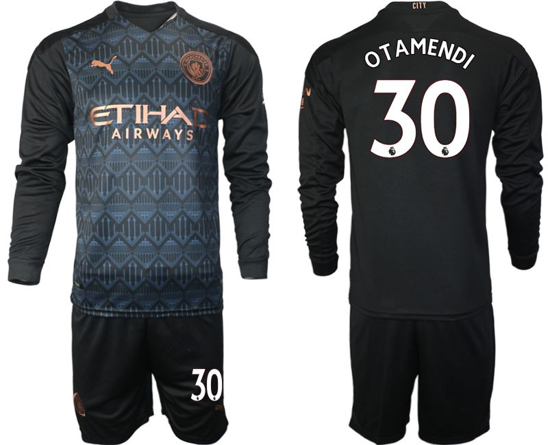 Wholesale Men 2020-2021 club Manchester city home long sleeve 30 black Soccer Jerseys