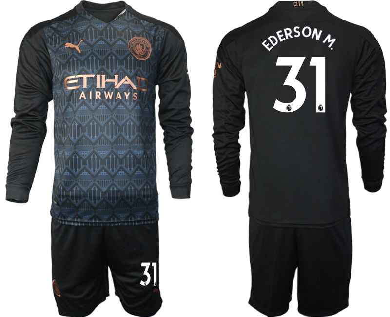 Wholesale Men 2020-2021 club Manchester city home long sleeve 31 black Soccer Jerseys