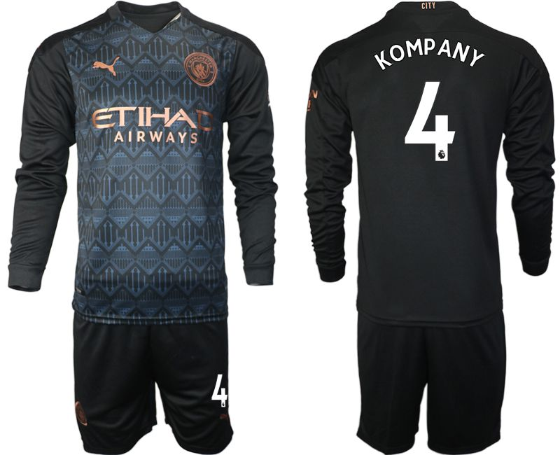 Wholesale Men 2020-2021 club Manchester city home long sleeve 4 black Soccer Jerseys