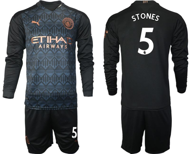 Wholesale Men 2020-2021 club Manchester city home long sleeve 5 black Soccer Jerseys