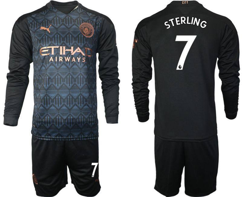 Wholesale Men 2020-2021 club Manchester city home long sleeve 7 black Soccer Jerseys