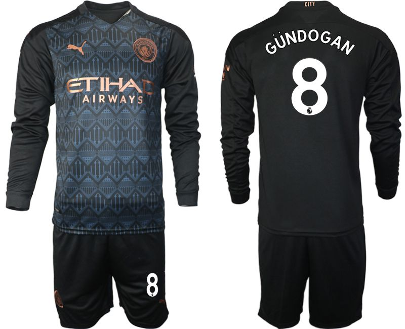 Wholesale Men 2020-2021 club Manchester city home long sleeve 8 black Soccer Jerseys
