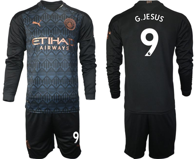 Wholesale Men 2020-2021 club Manchester city home long sleeve 9 black Soccer Jerseys