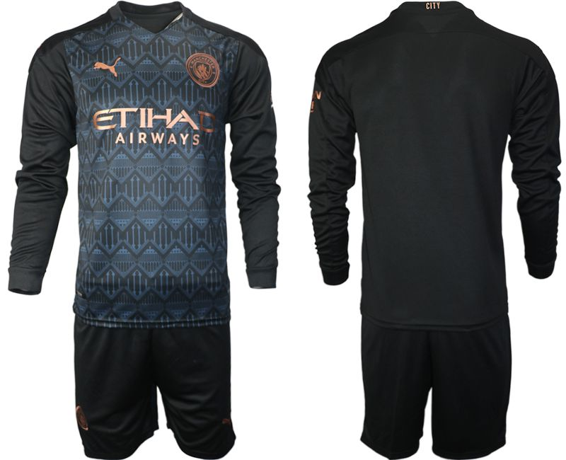 Wholesale Men 2020-2021 club Manchester city home long sleeve black Soccer Jerseys