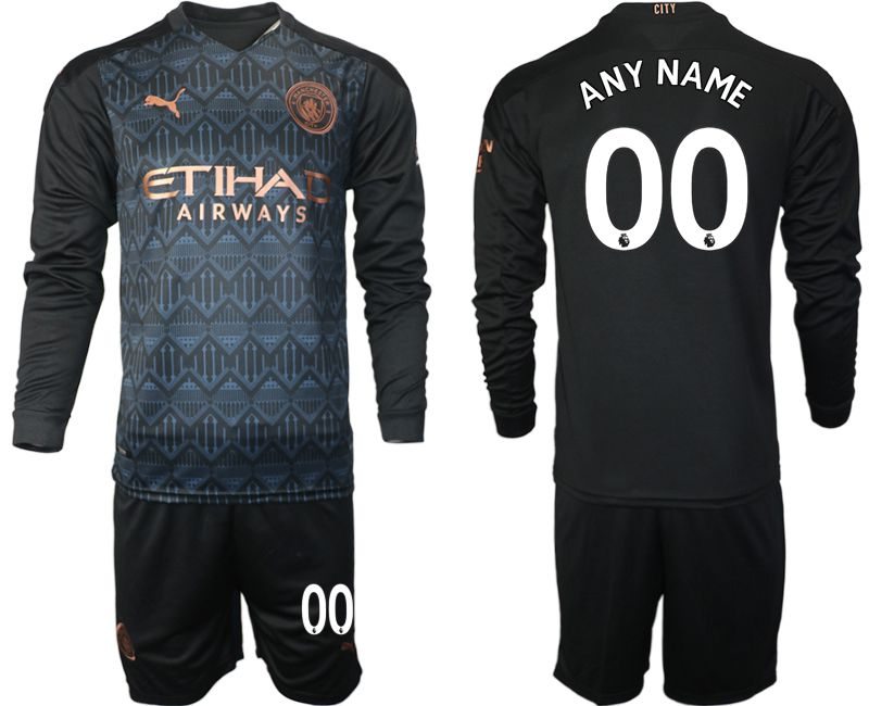 Wholesale Men 2020-2021 club Manchester city home long sleeve customized black Soccer Jerseys