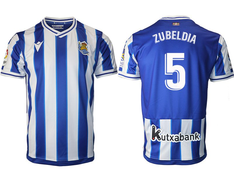 Wholesale Men 2020-2021 club Real Sociedad home aaa version 5 blue Soccer Jerseys