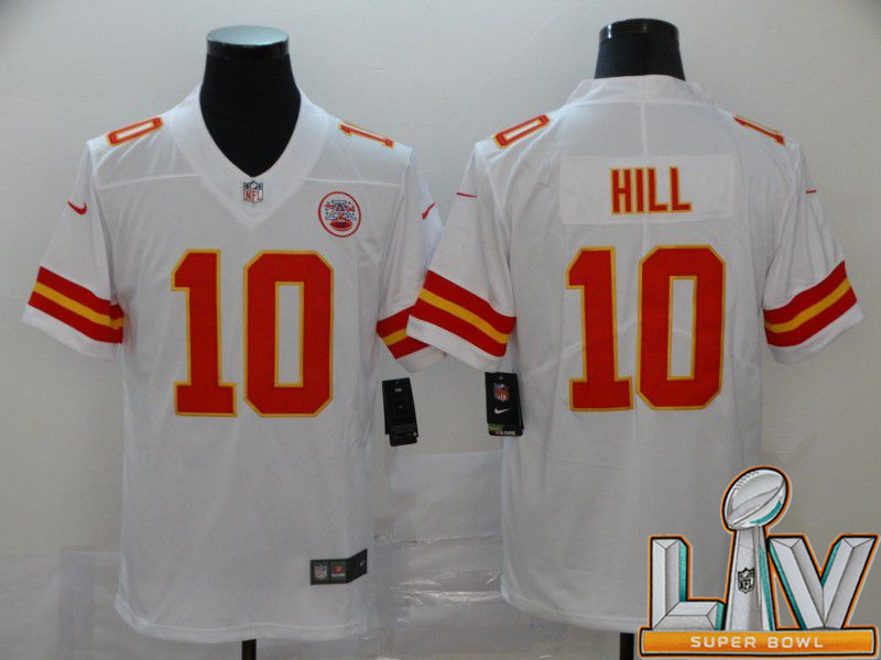 Super Bowl LV 2021 Men Kansas City Chiefs 10 Hill White Nike Vapor Untouchable Limited NFL Jersey