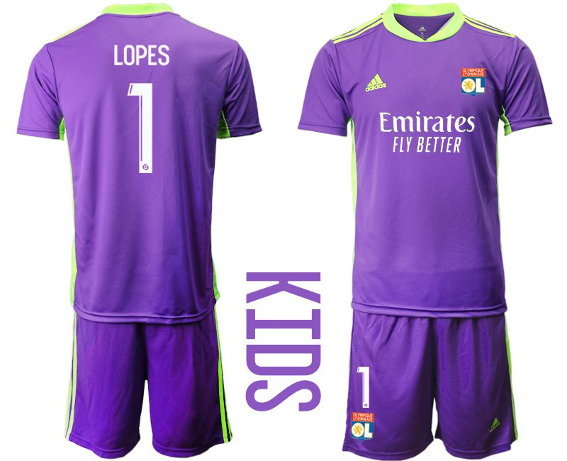 Wholesale Youth 2020-2021 club Olympique Lyonnais Russia purple goalkeeper 1 Soccer Jerseys