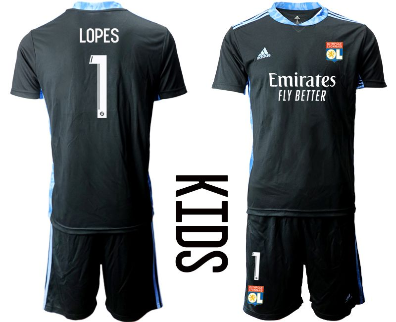 Wholesale Youth 2020-2021 club Olympique Lyonnais black goalkeeper 1 Soccer Jerseys