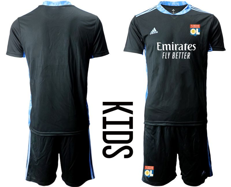 Wholesale Youth 2020-2021 club Olympique Lyonnais black goalkeeper Soccer Jerseys