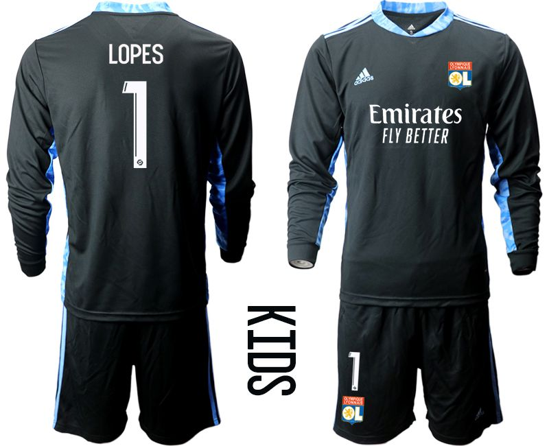 Wholesale Youth 2020-2021 club Olympique Lyonnais black long sleeve goalkeeper 1 Soccer Jerseys