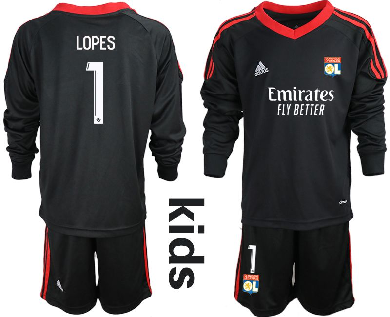 Wholesale Youth 2020-2021 club Olympique Lyonnais black long sleeve goalkeeper 1 Soccer Jerseys1