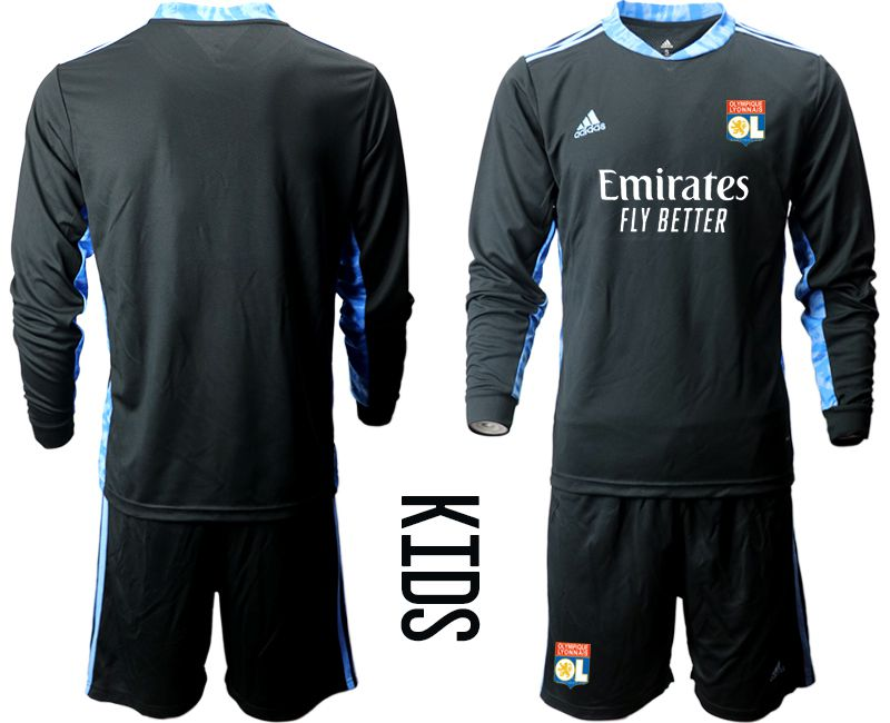 Wholesale Youth 2020-2021 club Olympique Lyonnais black long sleeve goalkeeper Soccer Jerseys