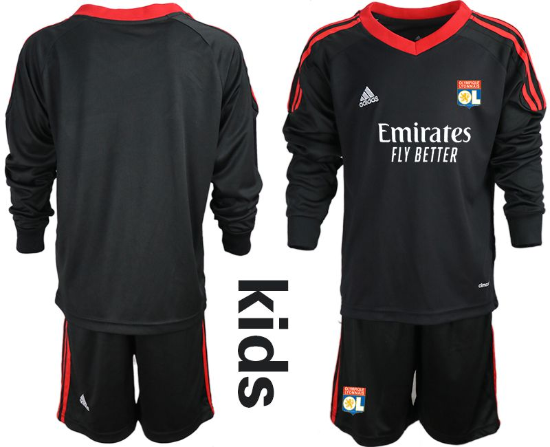 Wholesale Youth 2020-2021 club Olympique Lyonnais black long sleeve goalkeeper Soccer Jerseys1