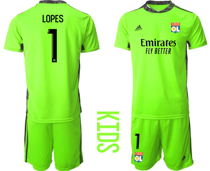 Wholesale Youth 2020-2021 club Olympique Lyonnais fluorescent green goalkeeper 1 Soccer Jerseys