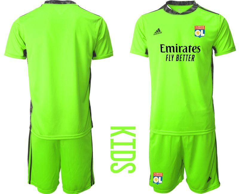 Wholesale Youth 2020-2021 club Olympique Lyonnais fluorescent green goalkeeper Soccer Jerseys