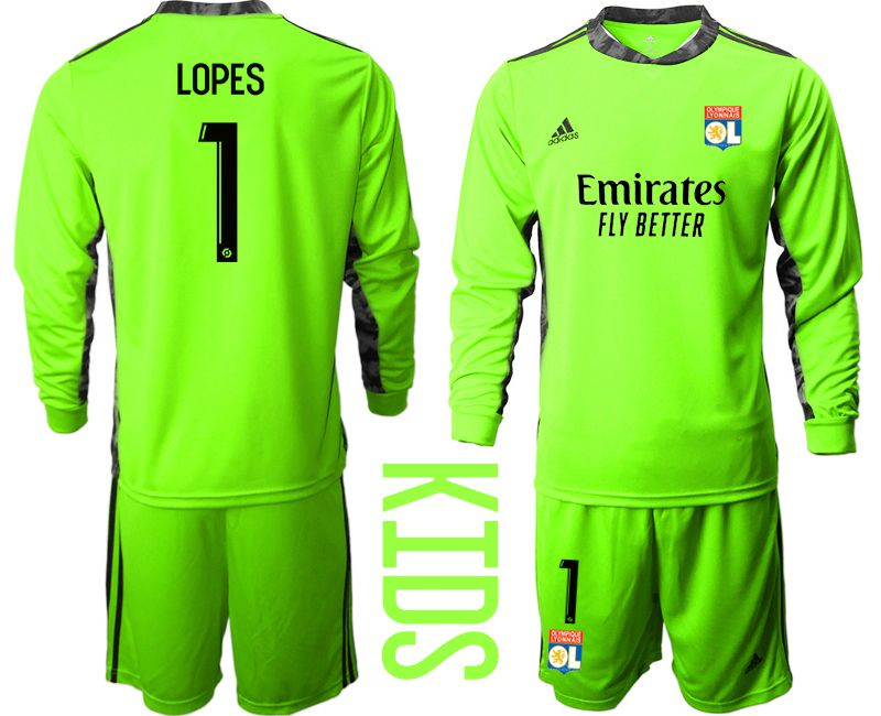 Wholesale Youth 2020-2021 club Olympique Lyonnais fluorescent green goalkeeper long sleeve 1 Soccer Jerseys