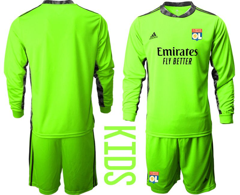 Wholesale Youth 2020-2021 club Olympique Lyonnais fluorescent green goalkeeper long sleeve Soccer Jerseys