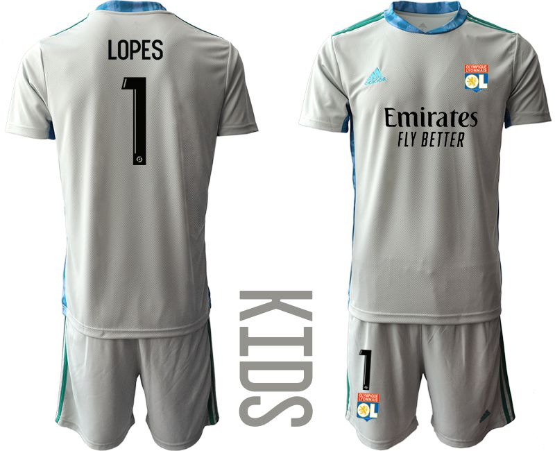 Wholesale Youth 2020-2021 club Olympique Lyonnais gray goalkeeper 1 Soccer Jerseys