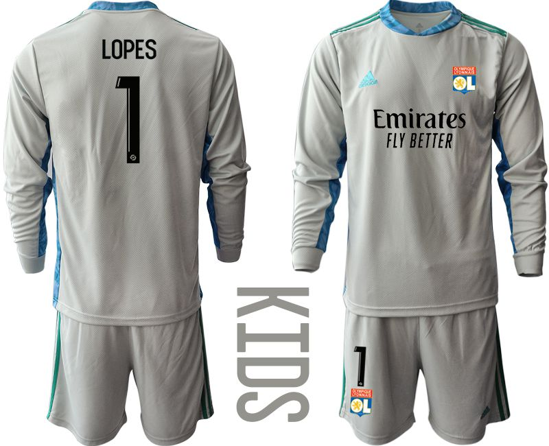 Wholesale Youth 2020-2021 club Olympique Lyonnais gray long sleeve goalkeeper 1 Soccer Jerseys