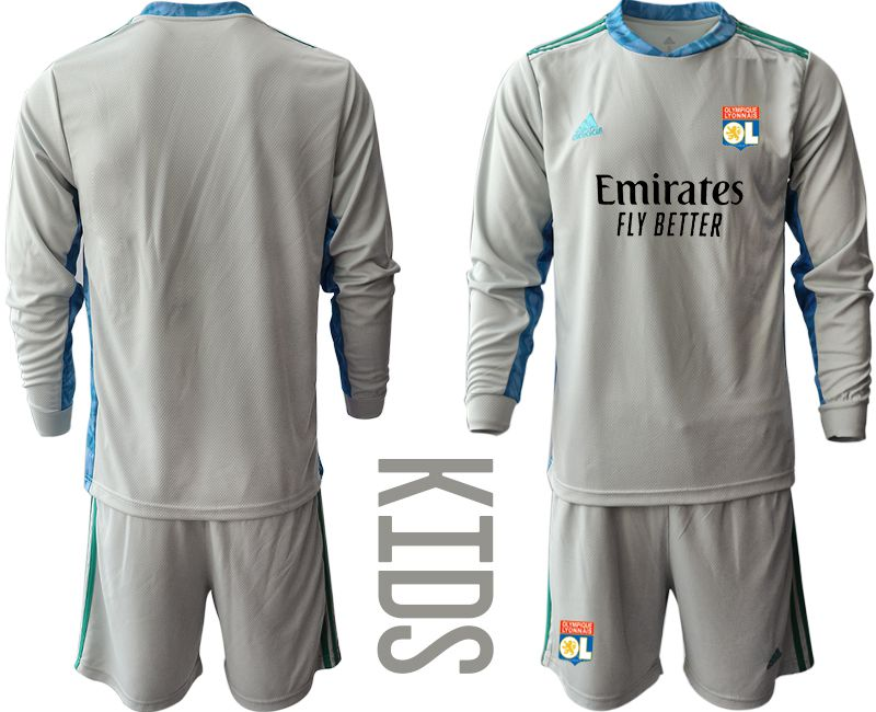 Wholesale Youth 2020-2021 club Olympique Lyonnais gray long sleeve goalkeeper Soccer Jerseys