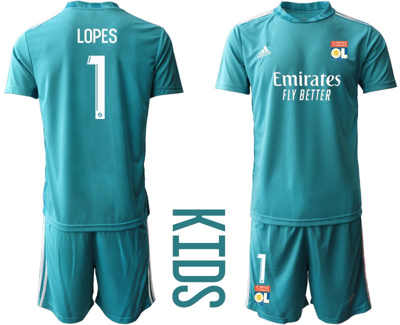 Wholesale Youth 2020-2021 club Olympique Lyonnais lake blue goalkeeper 1 Soccer Jerseys
