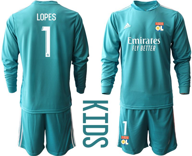 Wholesale Youth 2020-2021 club Olympique Lyonnais lake blue long sleeve goalkeeper 1 Soccer Jerseys