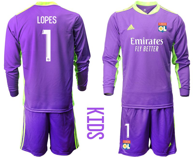 Wholesale Youth 2020-2021 club Olympique Lyonnais purple long sleeved Goalkeeper 1 Soccer Jerseys