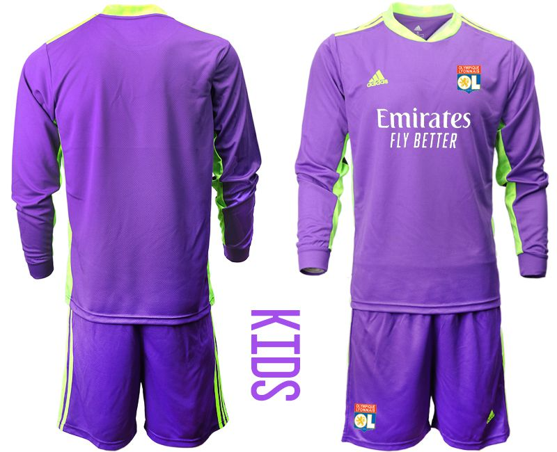 Wholesale Youth 2020-2021 club Olympique Lyonnais purple long sleeved Goalkeeper Soccer Jerseys