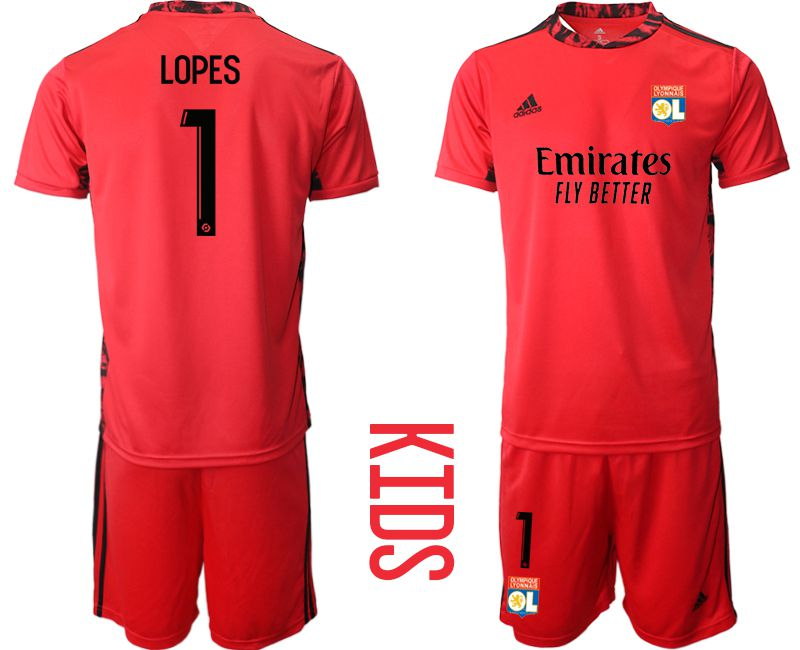 Wholesale Youth 2020-2021 club Olympique Lyonnais red goalkeeper 1 Soccer Jerseys