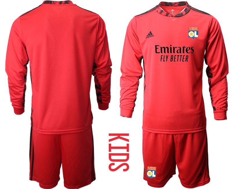 Wholesale Youth 2020-2021 club Olympique Lyonnais red goalkeeper long sleeve Soccer Jerseys