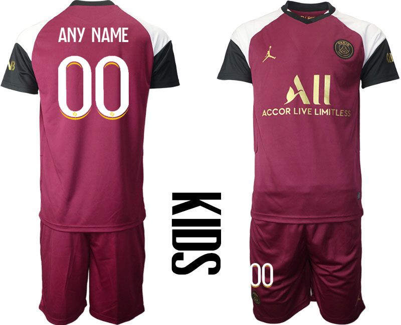 Cheap Youth 2020-2021 club Paris St German away customized red Soccer Jerseys