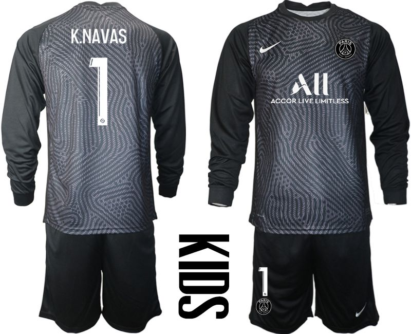 Wholesale Youth 2020-2021 club Paris St German black long sleeve goalkeeper 1 Soccer Jerseys