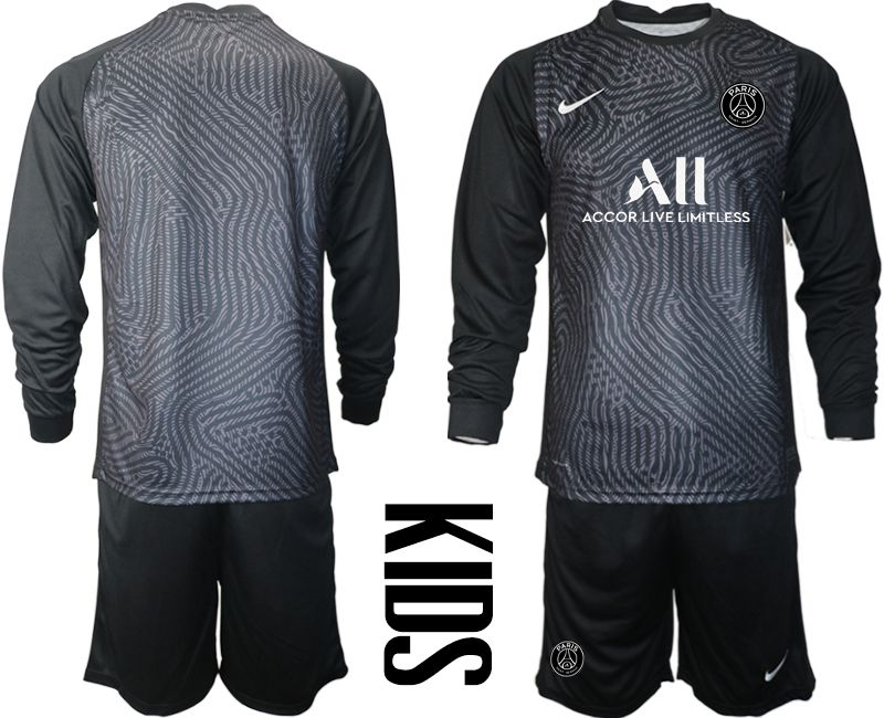 Wholesale Youth 2020-2021 club Paris St German black long sleeve goalkeeper Soccer Jerseys