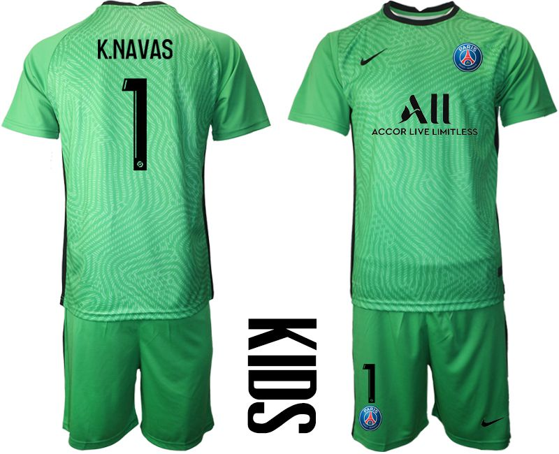 Wholesale Youth 2020-2021 club Paris St German green goalkeeper 1 Soccer Jerseys