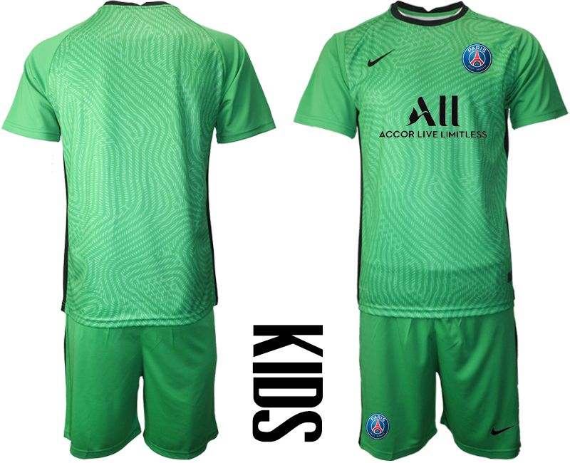 Wholesale Youth 2020-2021 club Paris St German green goalkeeper Soccer Jerseys