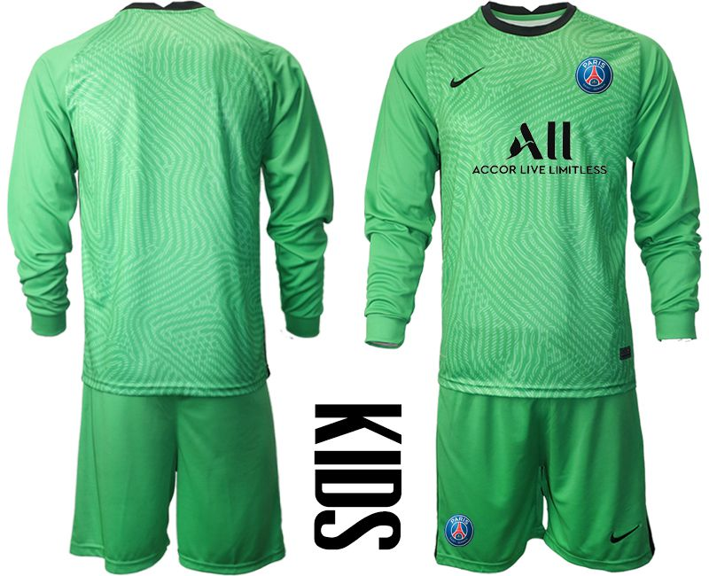 Wholesale Youth 2020-2021 club Paris St German green goalkeeper long sleeve Soccer Jerseys