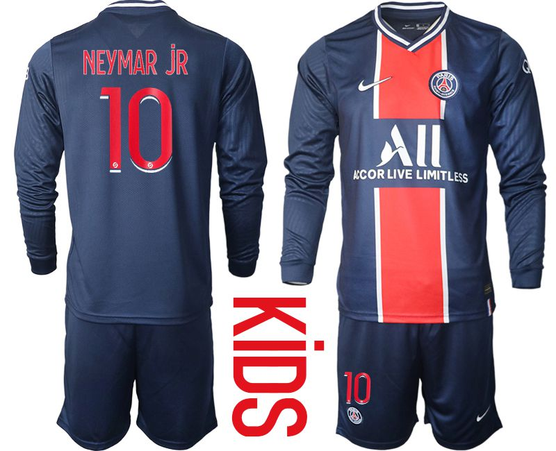 Wholesale Youth 2020-2021 club Paris St German home long sleeve 10 blue Soccer Jerseys