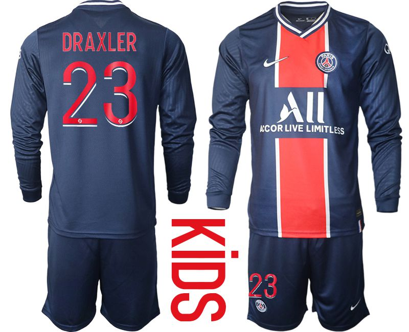Wholesale Youth 2020-2021 club Paris St German home long sleeve 23 blue Soccer Jerseys