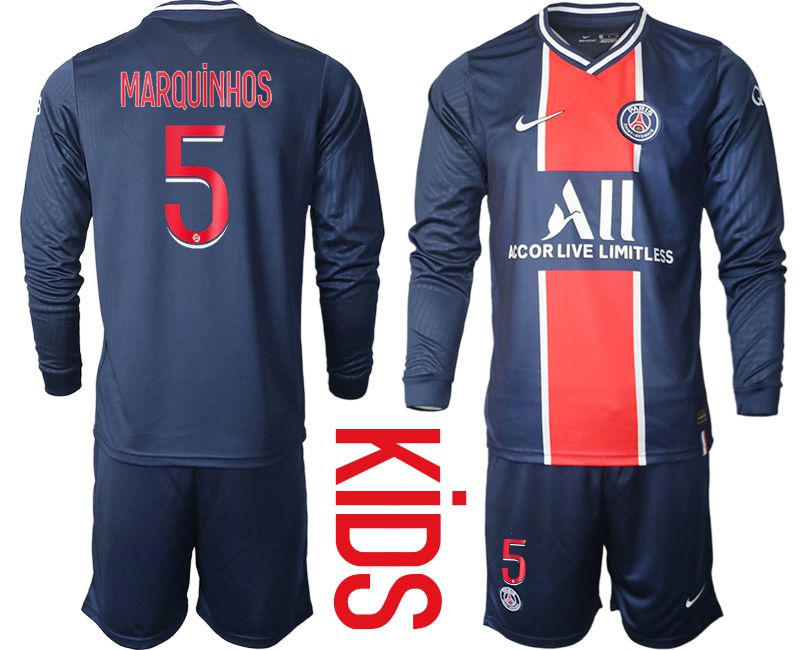 Wholesale Youth 2020-2021 club Paris St German home long sleeve 5 blue Soccer Jerseys