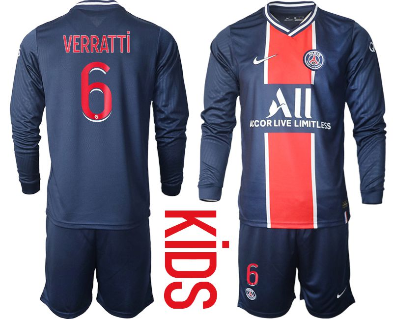 Cheap Youth 2020-2021 club Paris St German home long sleeve 6 blue Soccer Jerseys