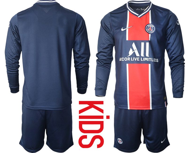 Wholesale Youth 2020-2021 club Paris St German home long sleeve blue Soccer Jerseys