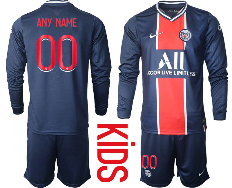 Wholesale Youth 2020-2021 club Paris St German home long sleeve customized blue Soccer Jerseys