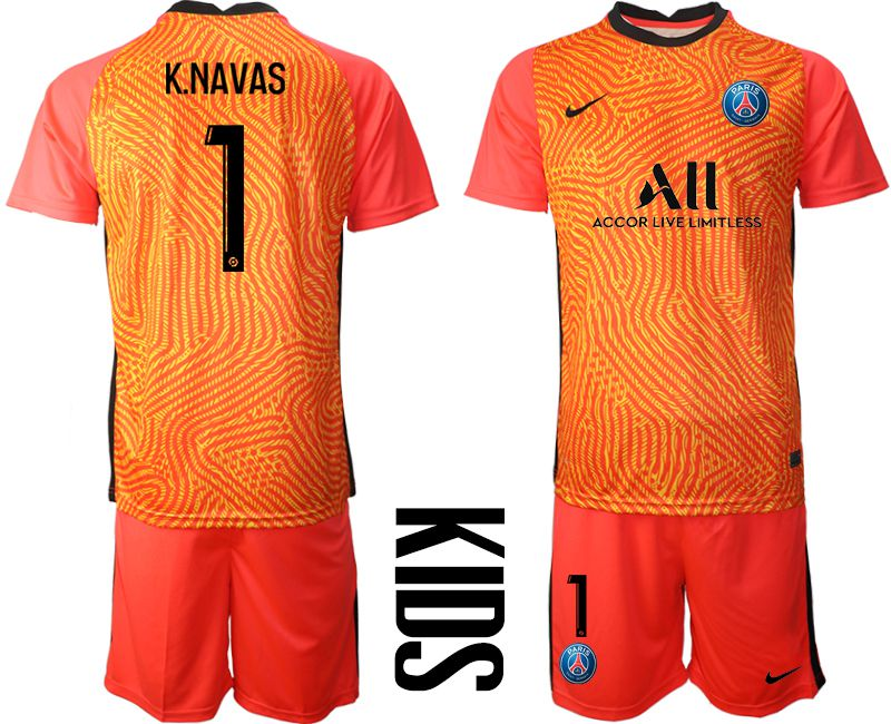 Wholesale Youth 2020-2021 club Paris St German red goalkeeper 1 Soccer Jerseys