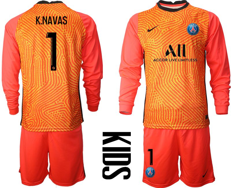 Wholesale Youth 2020-2021 club Paris St German red goalkeeper long sleeve 1 Soccer Jerseys
