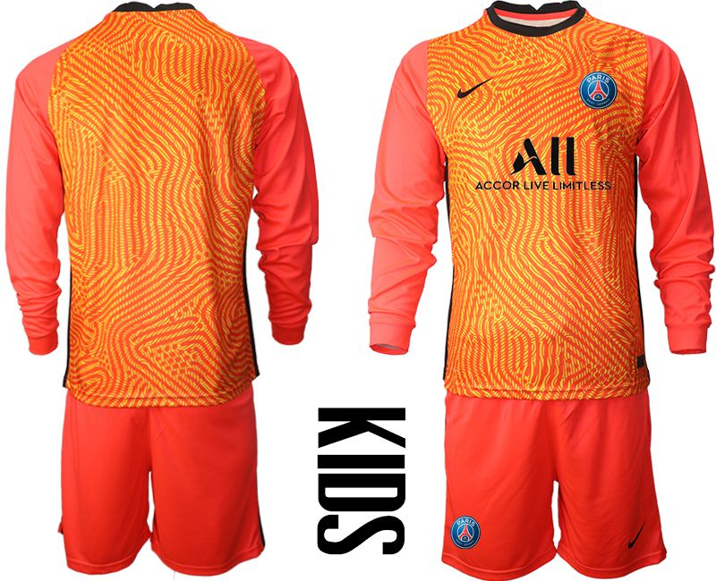 Wholesale Youth 2020-2021 club Paris St German red goalkeeper long sleeve Soccer Jerseys