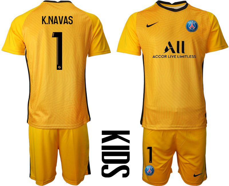 Wholesale Youth 2020-2021 club Paris St German yellow goalkeeper 1 Soccer Jerseys