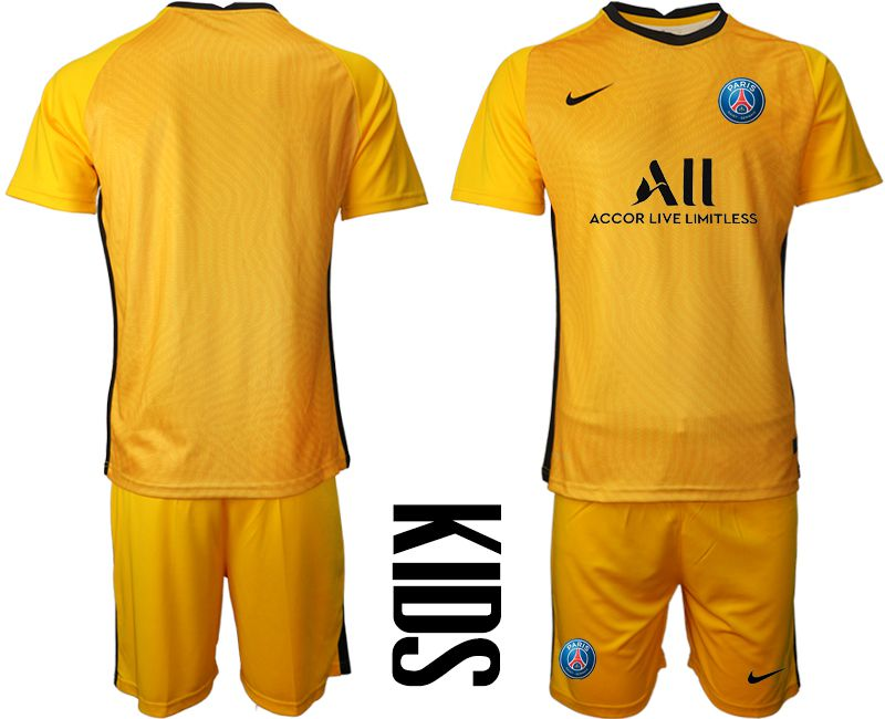 Wholesale Youth 2020-2021 club Paris St German yellow goalkeeper Soccer Jerseys