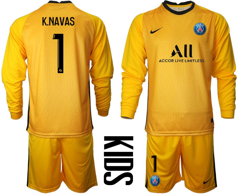 Wholesale Youth 2020-2021 club Paris St German yellow goalkeeper long sleeve 1 Soccer Jerseys