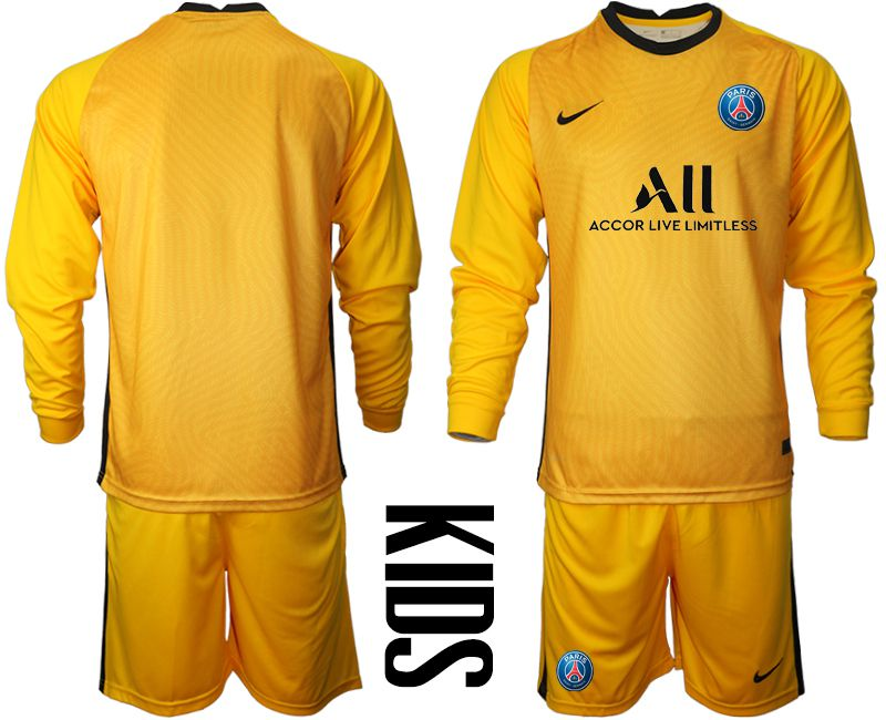 Wholesale Youth 2020-2021 club Paris St German yellow goalkeeper long sleeve Soccer Jerseys